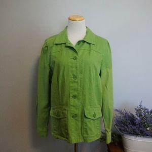 Green Denim CAbi Button Jacket Pockets Large
